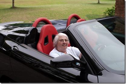 Aunt Hazel in the Mohammads Ferrari